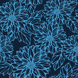 Seamless monochrome pattern with dahlia and leaves Stock Image