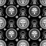 Seamless monochrome pattern from decorative elements based on motives of art Native American Indian. Royalty Free Stock Images