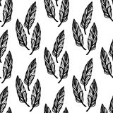 Seamless monochrome pattern of feathers-10 Stock Photos