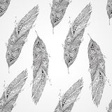 Seamless monochrome pattern with feathers Stock Photo