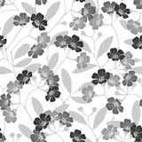 Seamless monochrome pattern with flowering trees. Monochrome vec Royalty Free Stock Photo