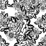 Seamless monochrome pattern. Of flowers for greeting cards, background, price tags Stock Photo