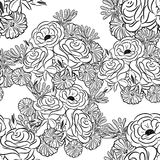 Seamless monochrome pattern of flowers Stock Photography