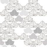 Seamless monochrome pattern with foliage. Royalty Free Stock Photos