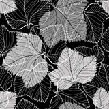 Seamless monochrome pattern with foliage on black background. Royalty Free Stock Photography