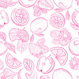 Seamless monochrome pattern fruit berry mix Stock Photos
