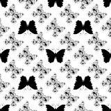 Seamless monochrome pattern of graphic vintage butterflies Royalty Free Stock Image