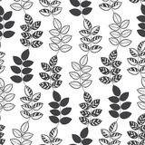 Seamless monochrome pattern with  hand-drawn abstract leaves. Royalty Free Stock Photo