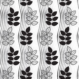Seamless monochrome pattern with  hand-drawn abstract leaves. Royalty Free Stock Photos