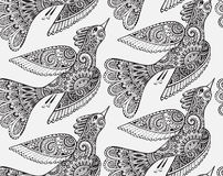Seamless monochrome  pattern with hand drawn birds. Royalty Free Stock Photography