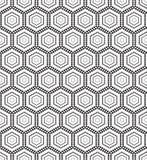 Seamless monochrome pattern hex Stock Photo