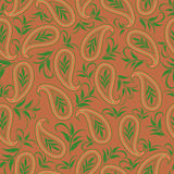 Seamless monochrome pattern with leaves and paisley. Vector print . Stock Photography