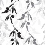 Seamless monochrome pattern with olive branches. Monochrome background with endless olive branches royalty free illustration