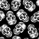 Seamless monochrome pattern with skulls Stock Photo