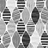 Seamless monochrome pattern with striped abstract leaves. Stock Images