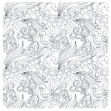 Seamless monochrome pattern stylized fishs, waves Stock Images