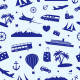 Seamless monochrome pattern on travel and tourism. Seamless monochrome pattern composed of travel and tourism symbols Royalty Free Stock Photo