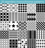 25 seamless monochrome pattern. Vector seamless pattern. Endless texture can be used for printing onto fabric, paper or scrap booking, wallpaper, pattern fills Royalty Free Stock Photos