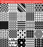 25 seamless monochrome pattern. Vector seamless pattern. Endless texture can be used for printing onto fabric, paper or scrap booking, wallpaper, pattern fills Stock Images