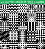 25 seamless monochrome pattern. Vector seamless pattern. Endless texture can be used for printing onto fabric, paper or scrap booking, wallpaper, pattern fills Stock Photos