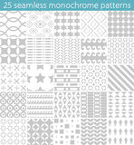 25 seamless monochrome pattern. Vector seamless pattern. Endless texture can be used for printing onto fabric, paper or scrap booking, wallpaper, pattern fills Stock Image