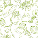 Seamless monochrome pattern vegetable mix Stock Photos