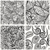 Seamless monochrome patterns Stock Photography