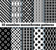 10 seamless monochrome patterns Stock Image