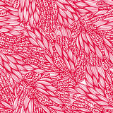 Seamless monochrome pink doodle floral pattern Royalty Free Stock Photo