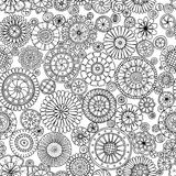 Seamless monochrome summer pattern with stylized flowers in circles. Royalty Free Stock Images