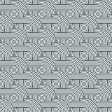 Seamless monochrome texture with diagonally arranged rows of concentric circles stock illustration