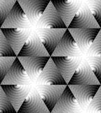 Seamless Monochrome Triangle Pattern of Expanding Waves Intersect in the Center. Optical Volume Effect. Vector Illustration. Seamless Monochrome Triangle Royalty Free Stock Photos