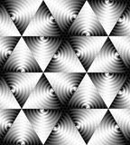 Seamless Monochrome Triangle Pattern of Expanding Waves Intersect in the Center. Optical Volume Effect. Vector Illustration. Seamless Monochrome Triangle Pattern Royalty Free Stock Image