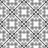 Seamless monochrome vector pattern. Black and white ceramic tile Royalty Free Stock Images