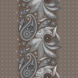 Seamless monochrome vertical lace pattern with paisley. Vector background. Stock Image