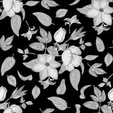 Seamless monochrome vintage floral watercolor background with subtitles leaves. Royalty Free Stock Photo