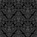 Seamless monochrome wallpaper pattern. Royalty Free Stock Images