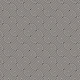 Seamless monochrome waving pattern. Abstract stripy background. Vector irregular round stripes design. Seamless monochrome waving pattern. Abstract retro stripy Stock Image