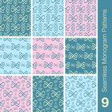 9 Seamless monogram patterns marshmallow colors. 9 Seamless monogram  patterns marshmallow colors Stock Photography