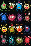 Seamless monster pattern. On black background Stock Images
