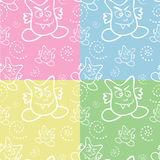 Seamless Monster Pattern. In four colors vector illustration