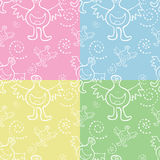 Seamless Monster Pattern. In four colors stock illustration