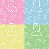 Seamless Monster Pattern. In four colors Royalty Free Stock Images