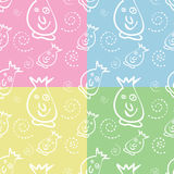 Seamless Monster Pattern. In four colors Royalty Free Stock Photo