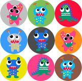 Seamless monster pattern. Colorful seamless funny monster pattern for children fashion industry Royalty Free Stock Photo