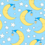 Seamless moon and star pattern vector illustration. Cute baby wallpaper for nursery or clothes. Good night background Royalty Free Stock Images