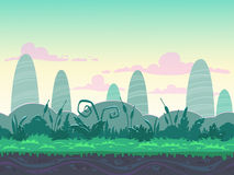 Seamless morning landscape. Never ending nature background with separated layers for game design vector illustration