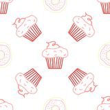 Seamless morning vector pattern. Sketch graphic text illustation. Muffin icon. Donut royalty free stock photography