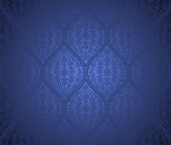 Seamless moroccan pattern background. Vector seamless moroccan blue pattern background with flowers Stock Photography