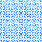 Seamless Moroccan watercolor circlular tile - navy and aqua. Seamless hand painted watercolor design in indigo blue and aqua ink. Repeat pattern featuring water royalty free illustration
